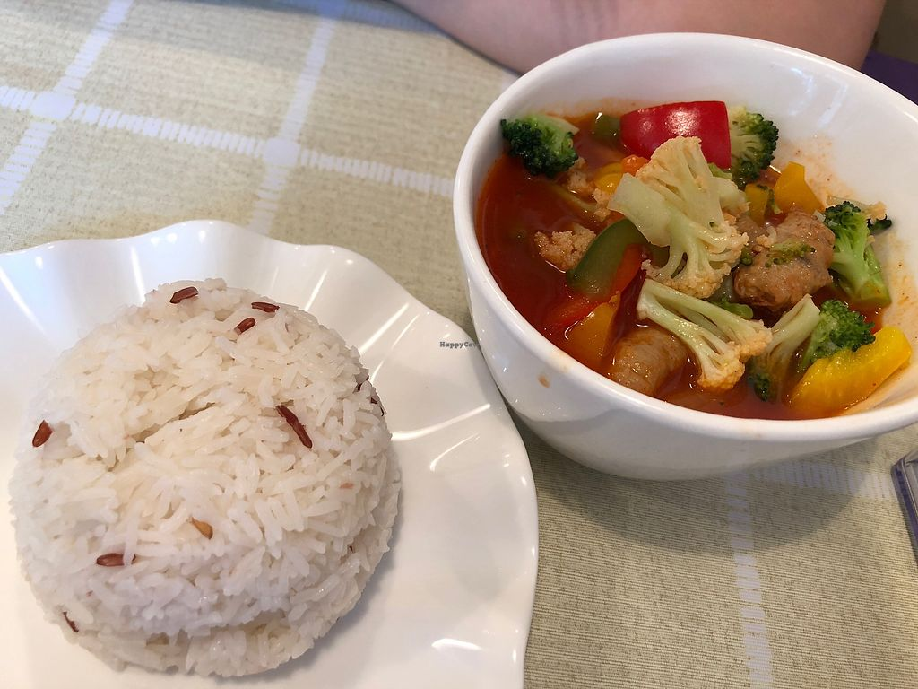 "Photo of Green Fresh Vegan Restaurant  by <a href=""/members/profile/SamanthaIngridHo"">SamanthaIngridHo</a> <br/>Red and White Rice with Sweet and Sour Veggie <br/> April 11, 2018  - <a href='/contact/abuse/image/55182/383918'>Report</a>"
