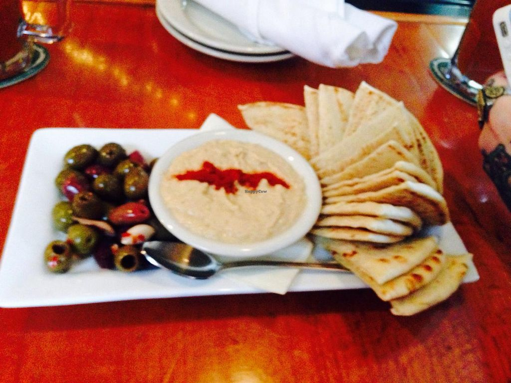 """Photo of Dogfish Head Brewing  by <a href=""""/members/profile/EllieProb"""">EllieProb</a> <br/>Hummus, olives & pita  <br/> January 31, 2015  - <a href='/contact/abuse/image/55232/91875'>Report</a>"""