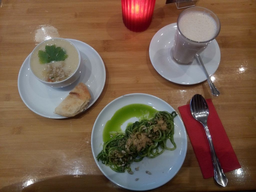 "Photo of Sol  by <a href=""/members/profile/Toby%20Stockholm"">Toby Stockholm</a> <br/>Zucchini pasta with spinach-cashew sauce and pearl barley soup with oat-chai-latte <br/> December 15, 2015  - <a href='/contact/abuse/image/55282/128563'>Report</a>"