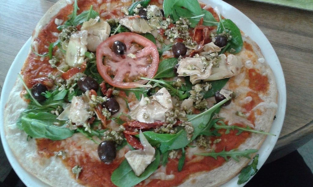 "Photo of CLOSED: Satori  by <a href=""/members/profile/Coralin"">Coralin</a> <br/>Pizza with vegan cheese, dry tomatoes, arartichokes, olives, green leafs and pesto <br/> March 13, 2017  - <a href='/contact/abuse/image/55286/235858'>Report</a>"