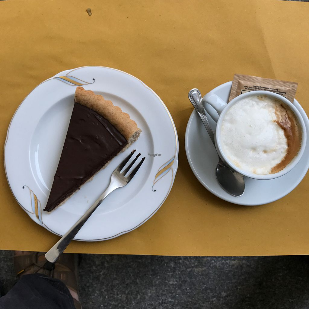 """Photo of Sali and Pistacchi  by <a href=""""/members/profile/earthville"""">earthville</a> <br/>Vegan chocolate pie and soy cappuccino :-) <br/> October 2, 2016  - <a href='/contact/abuse/image/55321/179289'>Report</a>"""