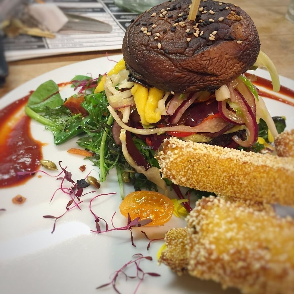 """Photo of Offbeet Food  by <a href=""""/members/profile/stephenwelleruk"""">stephenwelleruk</a> <br/>Beet Naked Burger v2.0 with rosemary polenta fries. Yum :-) <br/> April 18, 2017  - <a href='/contact/abuse/image/55388/249689'>Report</a>"""