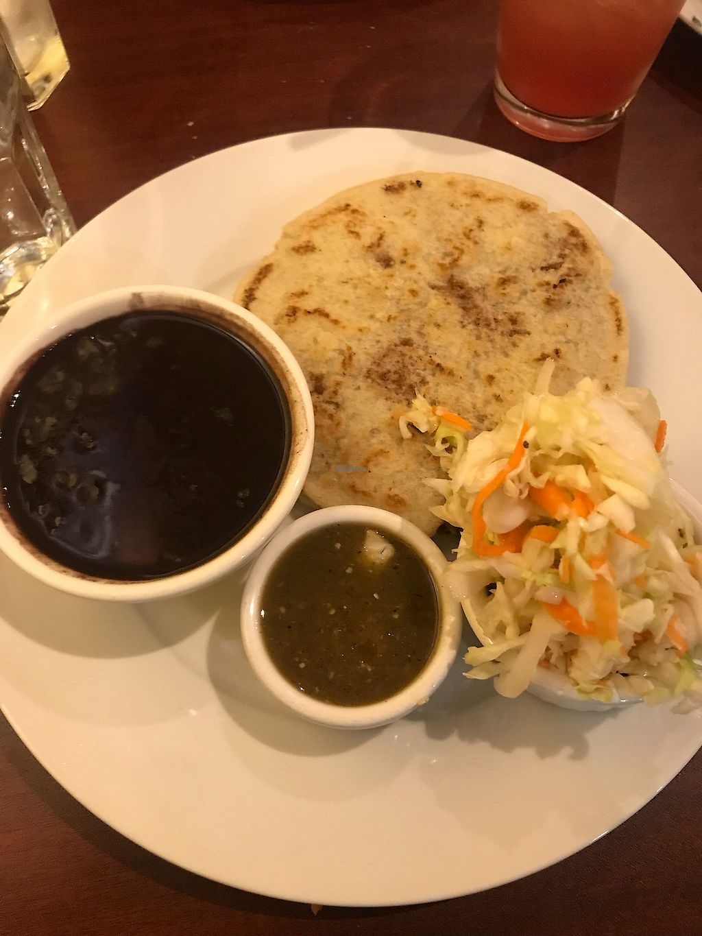 """Photo of un solo sol  by <a href=""""/members/profile/Vegan_Ness"""">Vegan_Ness</a> <br/>Spinach pupusa/ pinto bean pupusa w/black beans  <br/> October 7, 2017  - <a href='/contact/abuse/image/55390/312562'>Report</a>"""