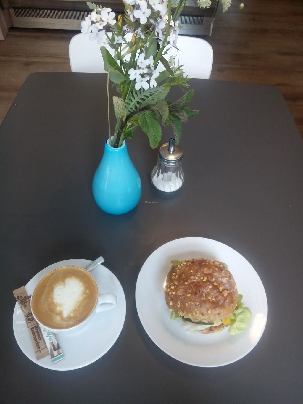 """Photo of Holy Kitchen  by <a href=""""/members/profile/SandraPauly"""">SandraPauly</a> <br/>soy cappuccino & vegan bun with grilled vegetables <br/> May 19, 2015  - <a href='/contact/abuse/image/55404/102663'>Report</a>"""