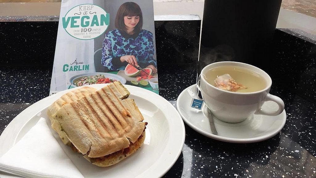 """Photo of Vegan Antics  by <a href=""""/members/profile/CharleyHarris"""">CharleyHarris</a> <br/>My lunch at Vegan Antics - Relaxation Tea and Italian Panini <br/> March 28, 2018  - <a href='/contact/abuse/image/55421/377503'>Report</a>"""