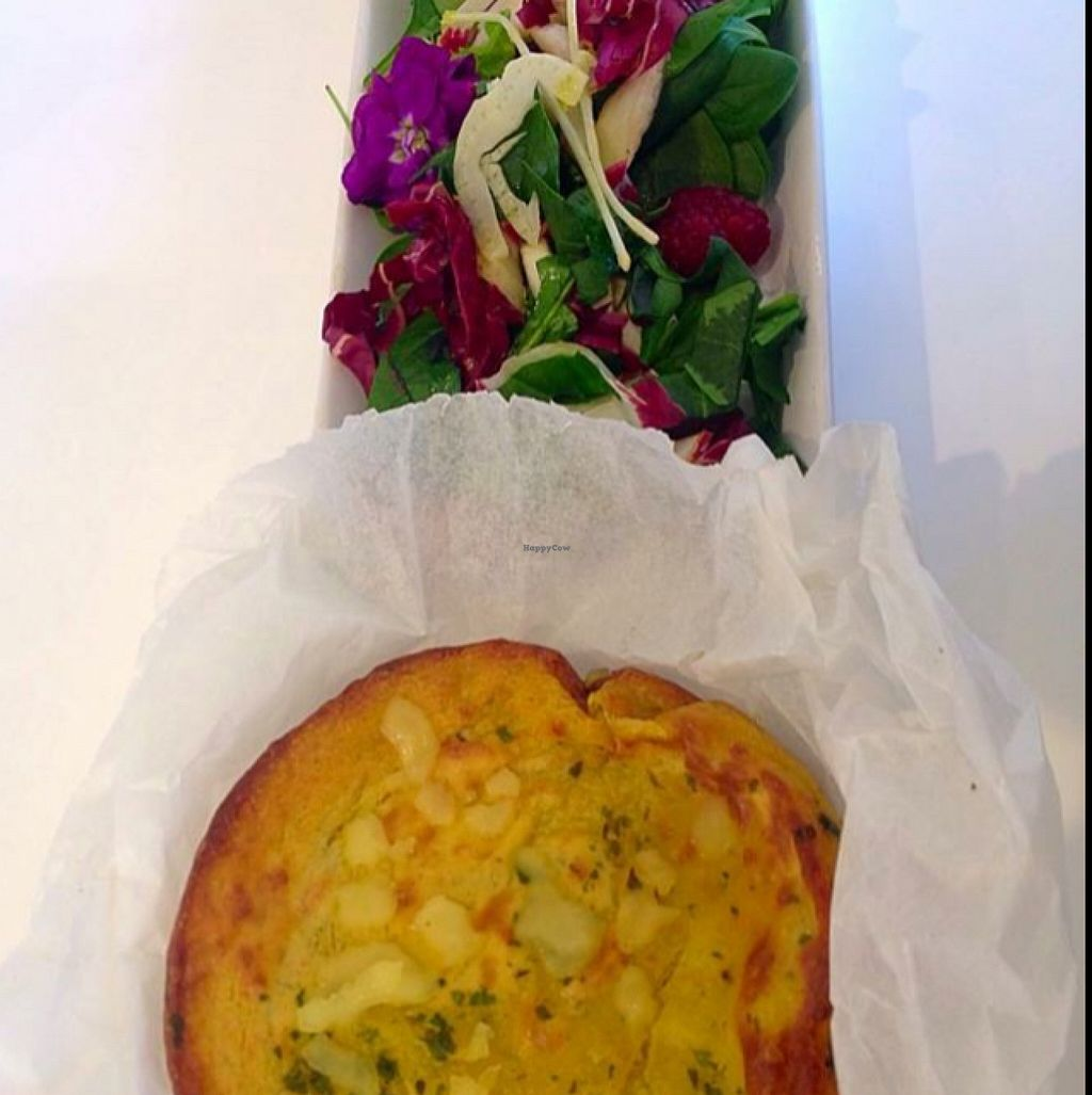 """Photo of CLOSED: Pepo's - Gelateria Naturale and Kitchen Lab  by <a href=""""/members/profile/IlCavalloFrisone"""">IlCavalloFrisone</a> <br/>vegan gluten free omelette with vegan melty cheese accompanied by rainbow salad <br/> March 1, 2016  - <a href='/contact/abuse/image/55447/138354'>Report</a>"""