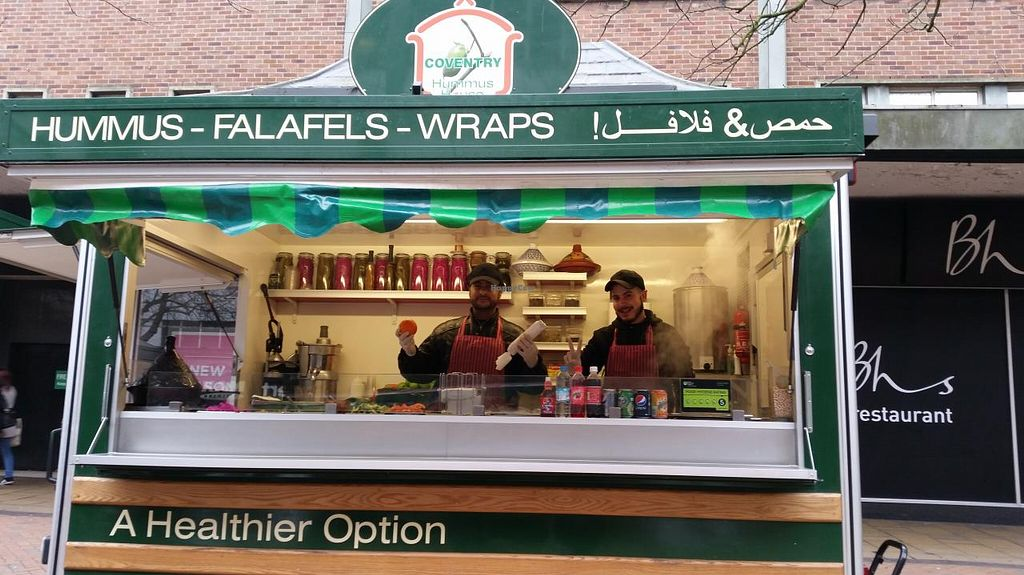 "Photo of Hummus House UK  by <a href=""/members/profile/konlish"">konlish</a> <br/>Friendly staff at the food stall <br/> February 7, 2015  - <a href='/contact/abuse/image/55497/92520'>Report</a>"