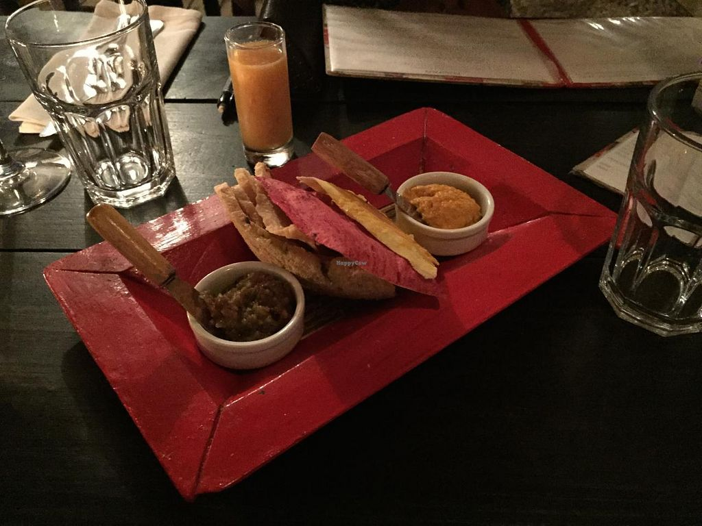 """Photo of Mistura  by <a href=""""/members/profile/cuckooworld"""">cuckooworld</a> <br/>Nice bread basket with aubergine and carrot 'butter' with yogurt. Also their normal bread was home made <br/> February 9, 2015  - <a href='/contact/abuse/image/55532/92648'>Report</a>"""