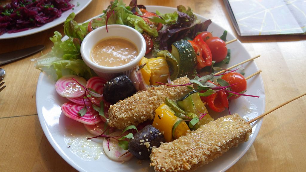 """Photo of Lokal Vegan Bistro  by <a href=""""/members/profile/deadpledge"""">deadpledge</a> <br/>Tofu skewers <br/> August 11, 2017  - <a href='/contact/abuse/image/55545/291477'>Report</a>"""
