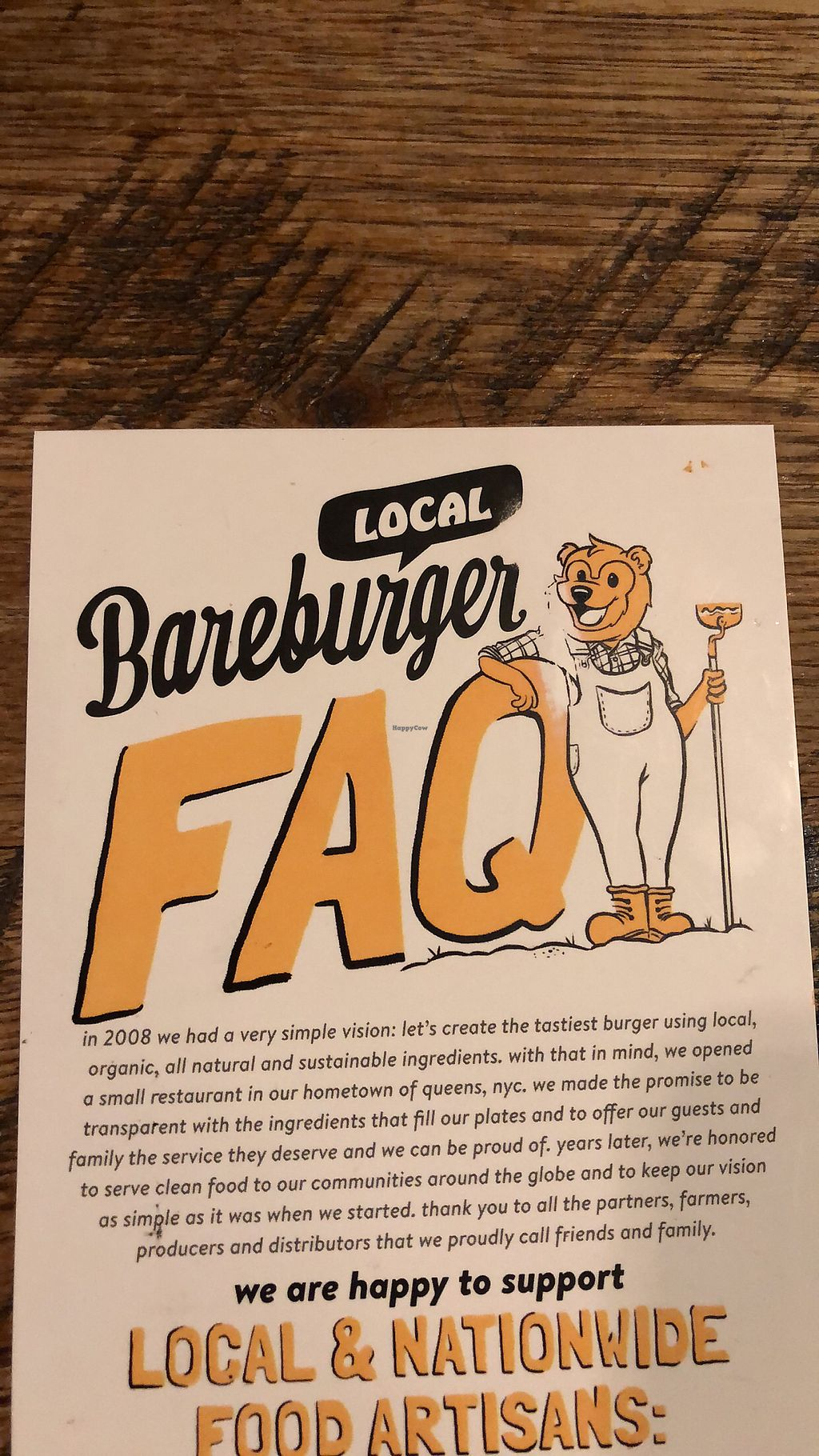 """Photo of Bareburger - Financial District  by <a href=""""/members/profile/Jadediana"""">Jadediana</a> <br/>Supports local and organic!  <br/> April 5, 2018  - <a href='/contact/abuse/image/55575/381247'>Report</a>"""