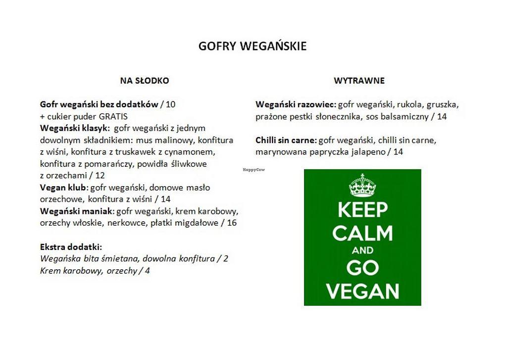 "Photo of CLOSED: Sklep z Goframi  by <a href=""/members/profile/Vera%20Peres"">Vera Peres</a> <br/>Vegan menu (Polish) <br/> February 23, 2015  - <a href='/contact/abuse/image/55641/93888'>Report</a>"