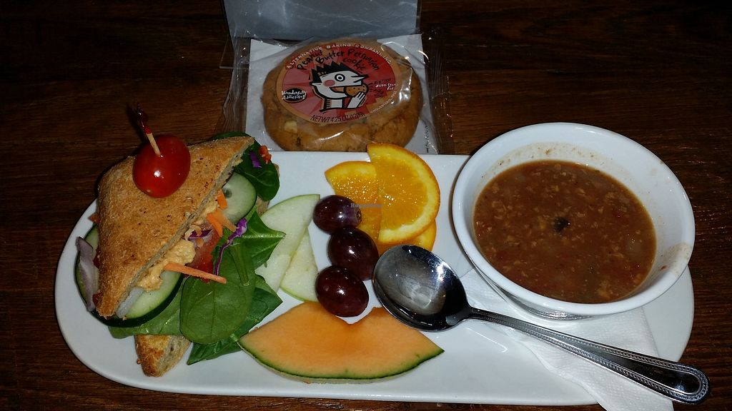 """Photo of Sacred Grounds Coffee  by <a href=""""/members/profile/BennyD"""">BennyD</a> <br/>Half veggie sandwich with green chili hummus and a cup of vegan taco soup and a vegan peanut butter cookie <br/> January 22, 2018  - <a href='/contact/abuse/image/55684/349908'>Report</a>"""