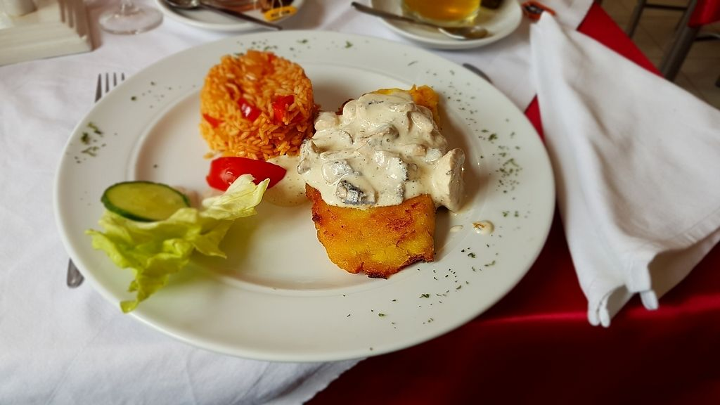 """Photo of Blumenhotel Restaurant  by <a href=""""/members/profile/mon1que"""">mon1que</a> <br/>Tofu-corn schnitzel with mushroom sauce <br/> August 13, 2017  - <a href='/contact/abuse/image/55695/292222'>Report</a>"""