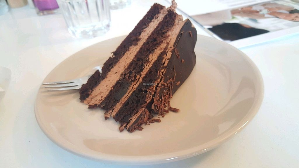 """Photo of Velicious  by <a href=""""/members/profile/RoseVonVegan"""">RoseVonVegan</a> <br/>Chocolate and cream cake - hazelnut I think?  <br/> February 18, 2018  - <a href='/contact/abuse/image/55697/360955'>Report</a>"""