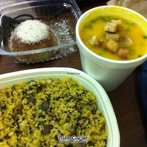 """Photo of Vegetariano Social Clube  by <a href=""""/members/profile/dnmp"""">dnmp</a> <br/>Pumpkin Soup, Mushroom risotto and banana pie with no added sugar <br/> July 17, 2012  - <a href='/contact/abuse/image/5570/34654'>Report</a>"""