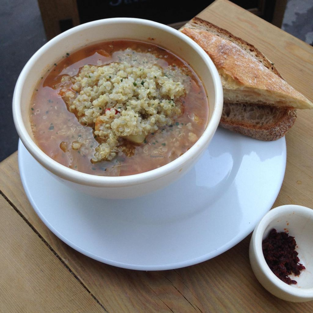 """Photo of Le Pain Quotidien - Bretagne  by <a href=""""/members/profile/daisymaysipes"""">daisymaysipes</a> <br/>veggie soup <br/> June 6, 2015  - <a href='/contact/abuse/image/55714/104952'>Report</a>"""