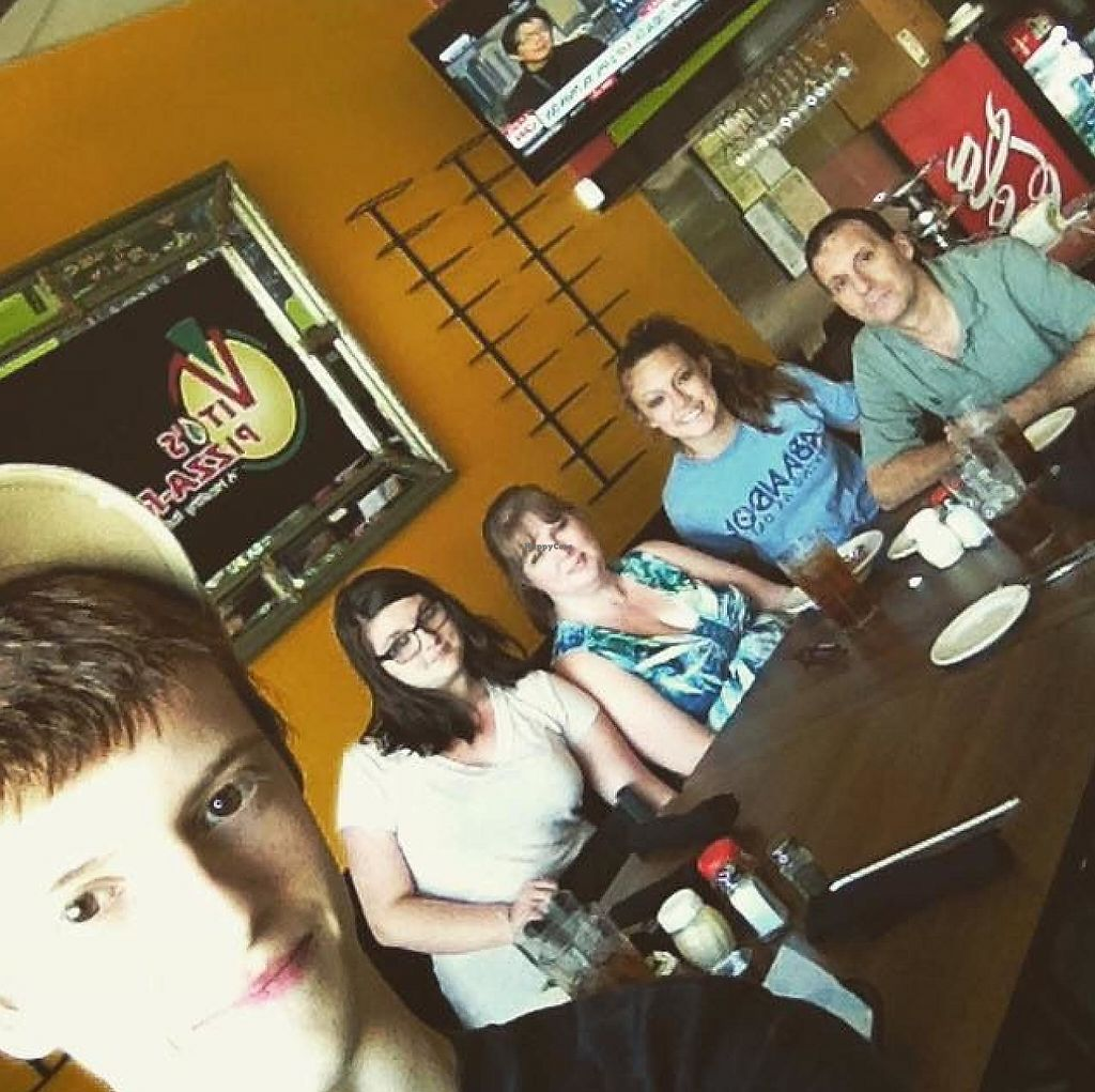 """Photo of Vito's Pizza and Ristorante  by <a href=""""/members/profile/srlonnen"""">srlonnen</a> <br/>Our vegan family at Vito's Pizza-rant in Alpharetta, Georgia.  Great vegan food, super friendly service, and nice atmosphere! <br/> April 20, 2015  - <a href='/contact/abuse/image/55724/198376'>Report</a>"""