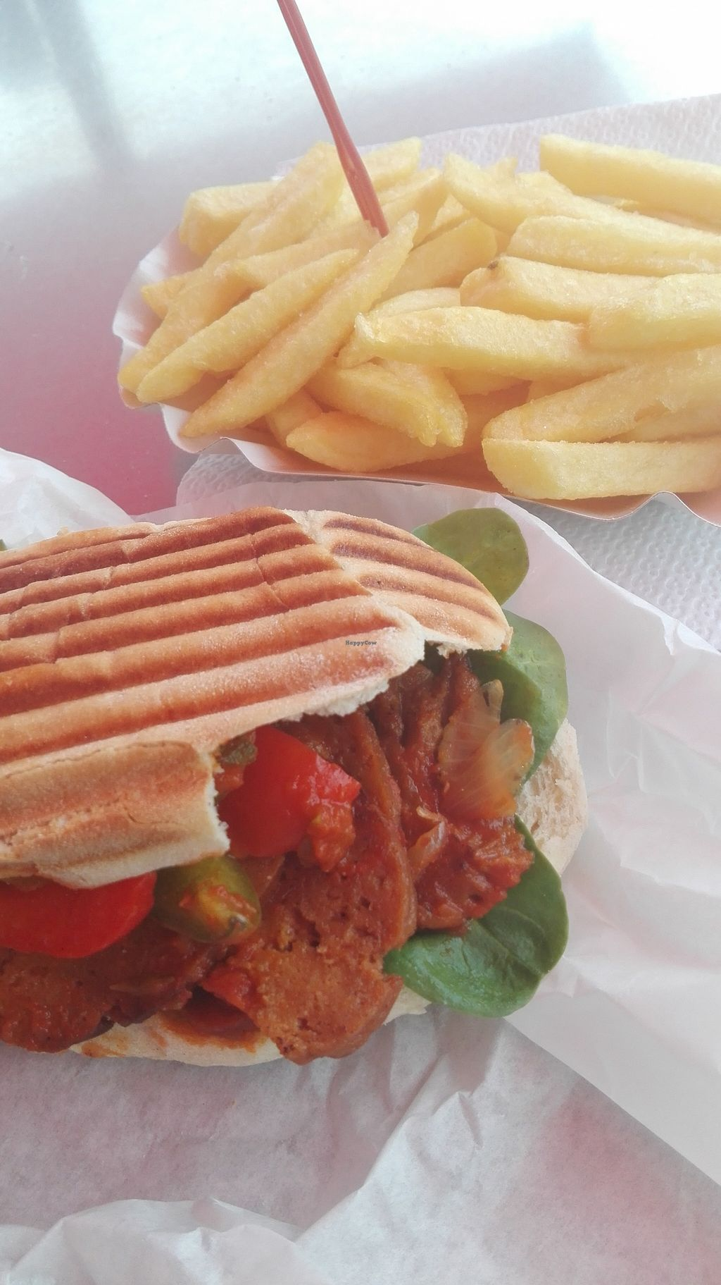 """Photo of strEats Vegan Food Truck  by <a href=""""/members/profile/FlorFrutal"""">FlorFrutal</a> <br/>Seitan sandwich. I bought the fries in another different truck <br/> October 30, 2015  - <a href='/contact/abuse/image/55725/123225'>Report</a>"""
