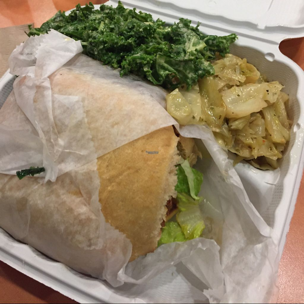 """Photo of NuVegan Cafe  by <a href=""""/members/profile/GMUGrad2002"""">GMUGrad2002</a> <br/>Black bean burger, cooked cabbage,kale salad <br/> February 19, 2017  - <a href='/contact/abuse/image/55774/228284'>Report</a>"""