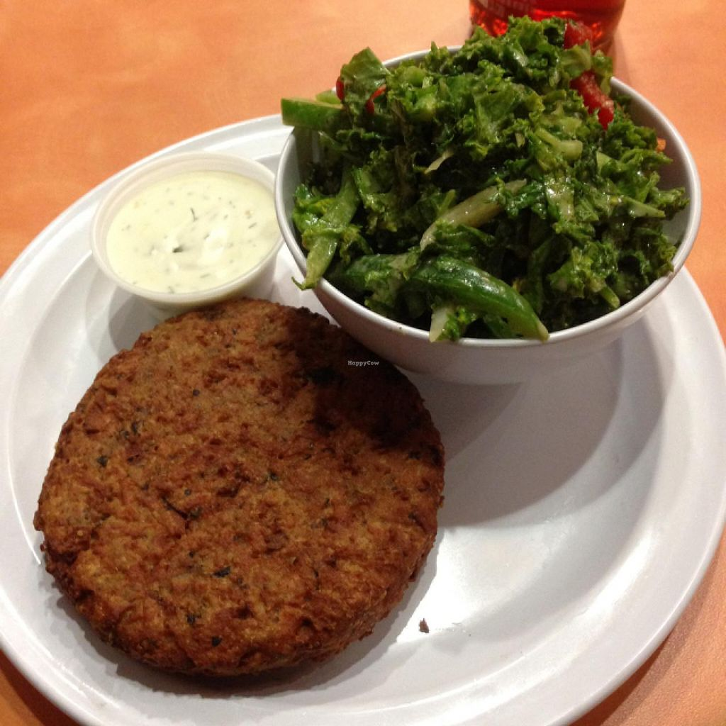 """Photo of NuVegan Cafe  by <a href=""""/members/profile/Martinamcl1"""">Martinamcl1</a> <br/>Crab cake & red wine kale <br/> March 21, 2015  - <a href='/contact/abuse/image/55774/96493'>Report</a>"""