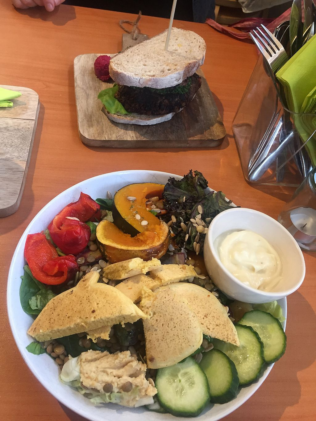 """Photo of Bindi Cafe  by <a href=""""/members/profile/vegalika"""">vegalika</a> <br/>Burger and salad, very delicious? <br/> November 3, 2017  - <a href='/contact/abuse/image/55809/321398'>Report</a>"""