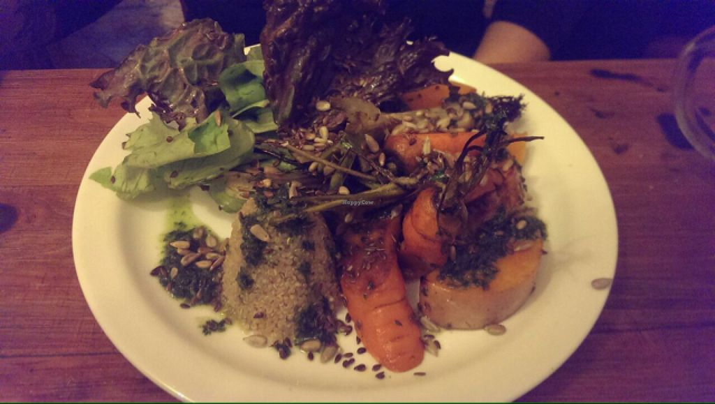 """Photo of La Fonda  by <a href=""""/members/profile/AdrianaMatsufuji"""">AdrianaMatsufuji</a> <br/>quinoa, roasted vegetables and green leaves - delicious!  <br/> August 3, 2015  - <a href='/contact/abuse/image/55819/112092'>Report</a>"""