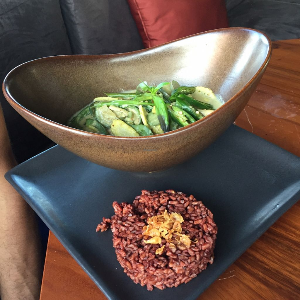 """Photo of Kismet Cafe and Boutique  by <a href=""""/members/profile/petitevegan"""">petitevegan</a> <br/>Thai green curry with red rice <br/> December 28, 2015  - <a href='/contact/abuse/image/55831/130103'>Report</a>"""