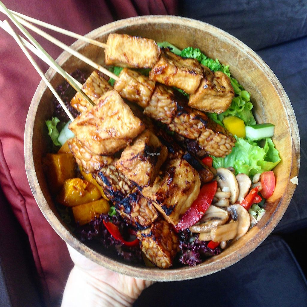 """Photo of Kismet Cafe and Boutique  by <a href=""""/members/profile/HappyVeganCouple"""">HappyVeganCouple</a> <br/>Amazing vegan salad with tofu and tempeh skewers <br/> March 25, 2017  - <a href='/contact/abuse/image/55831/240799'>Report</a>"""