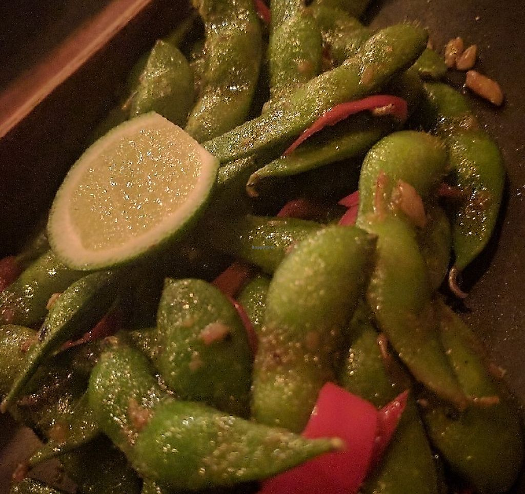"""Photo of Kismet Cafe and Boutique  by <a href=""""/members/profile/wildeyedgirl"""">wildeyedgirl</a> <br/>Edamame cooked with coconut oil instead of butter (listed on menu)  <br/> May 15, 2017  - <a href='/contact/abuse/image/55831/267504'>Report</a>"""