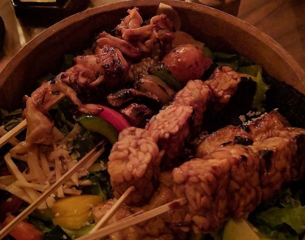 """Photo of Kismet Cafe and Boutique  by <a href=""""/members/profile/wildeyedgirl"""">wildeyedgirl</a> <br/>Salad bowl with mixed vegan skewers <br/> May 15, 2017  - <a href='/contact/abuse/image/55831/267505'>Report</a>"""