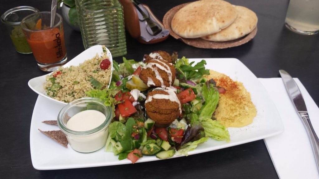 """Photo of Nanoosh  by <a href=""""/members/profile/LuciaFabianova"""">LuciaFabianova</a> <br/>Hummus Platter- the best baked falafel! <br/> July 4, 2016  - <a href='/contact/abuse/image/55865/157684'>Report</a>"""