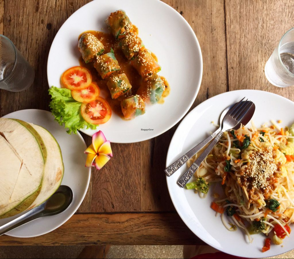"""Photo of La Carotte Qui Rit  by <a href=""""/members/profile/Sammybrack"""">Sammybrack</a> <br/>Fresh Coconut, spring Rolls and Pad Thai <br/> July 11, 2016  - <a href='/contact/abuse/image/55927/159132'>Report</a>"""