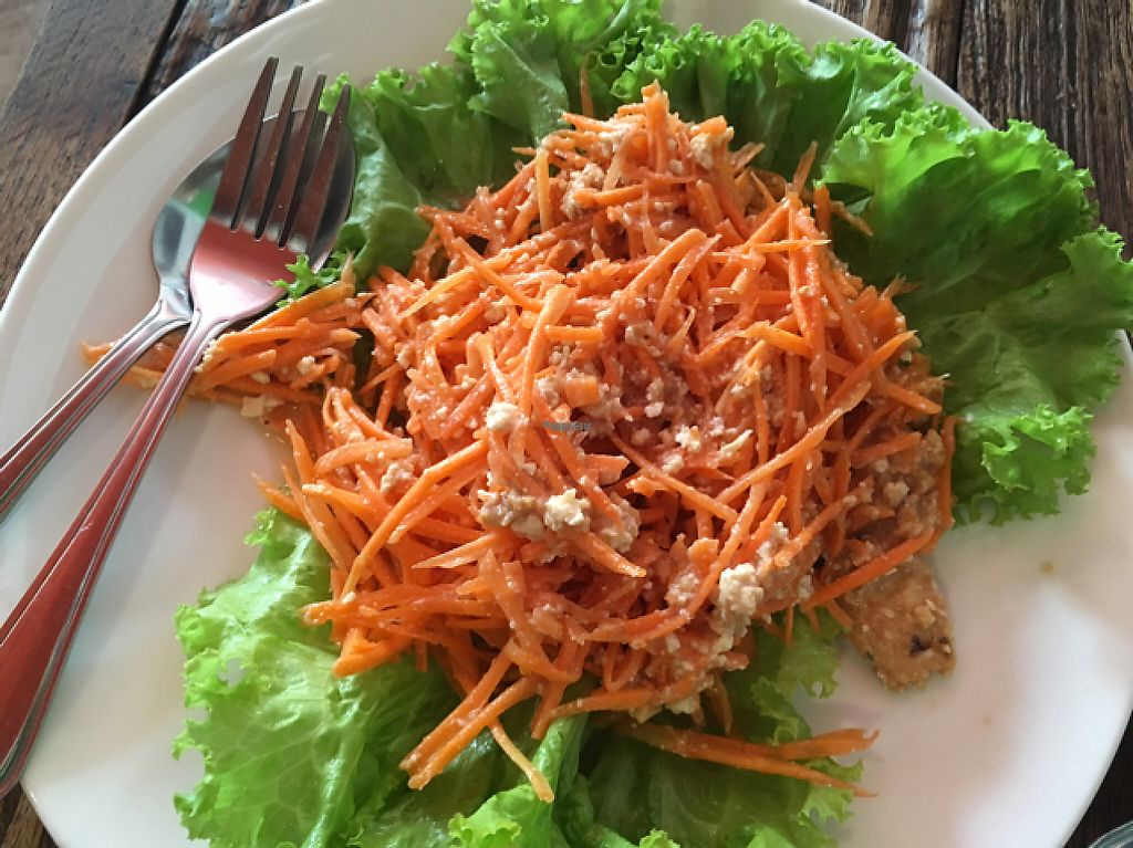 """Photo of La Carotte Qui Rit  by <a href=""""/members/profile/happycyclist"""">happycyclist</a> <br/>carrot salad with tofu and nut paste <br/> January 15, 2017  - <a href='/contact/abuse/image/55927/212117'>Report</a>"""