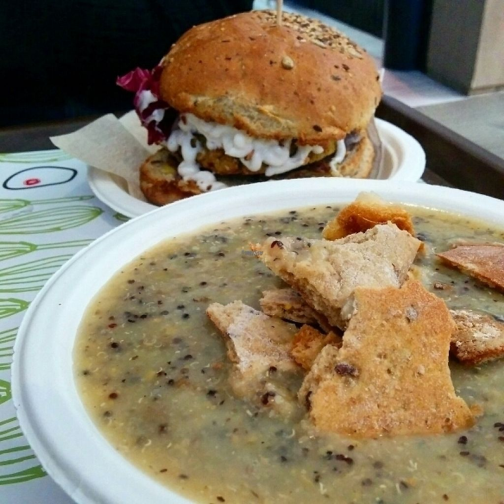 """Photo of Veg and Veg  by <a href=""""/members/profile/jord_aka"""">jord_aka</a> <br/>Quinoa and veggie soup, and vegan burger <br/> February 26, 2017  - <a href='/contact/abuse/image/55938/230732'>Report</a>"""