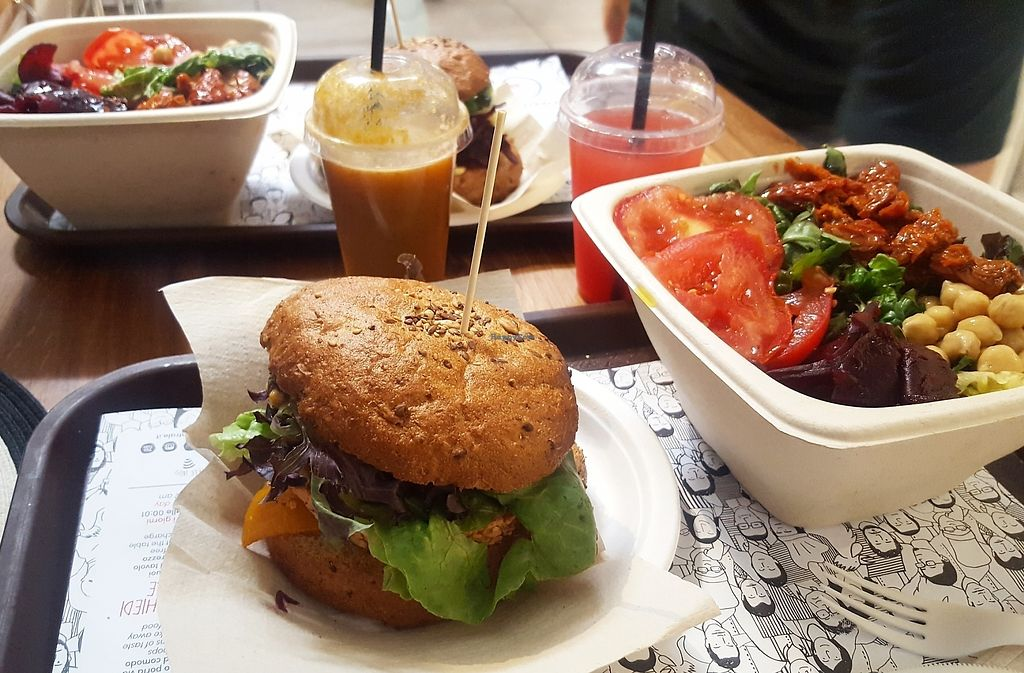 """Photo of Veg and Veg  by <a href=""""/members/profile/liiv1"""">liiv1</a> <br/>Vegan burger, juice and salad  <br/> August 8, 2017  - <a href='/contact/abuse/image/55938/290491'>Report</a>"""