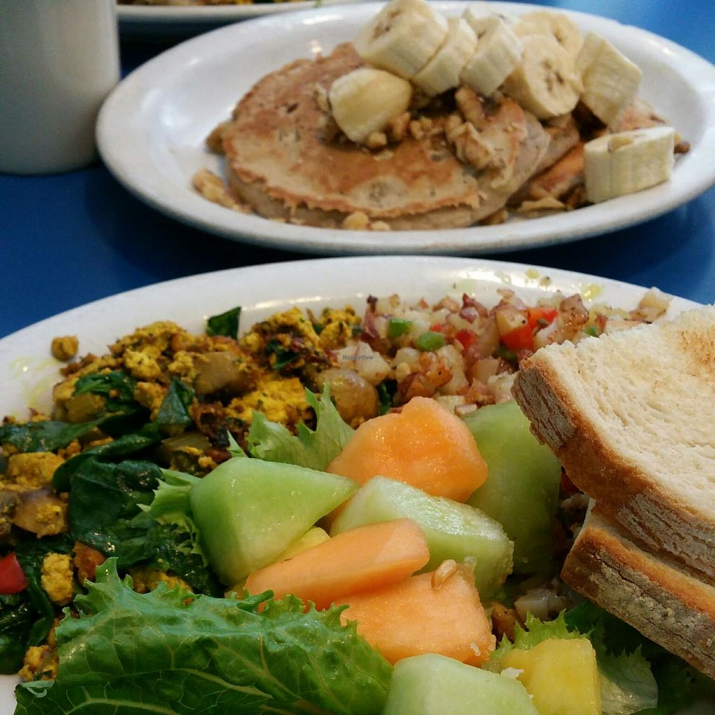 """Photo of Monty's Blue Plate Diner  by <a href=""""/members/profile/Lindsey"""">Lindsey</a> <br/>vegan potato hash, tofu scramble, fruit, and toast + vegan banana walnut pancakes <br/> July 7, 2015  - <a href='/contact/abuse/image/5594/108517'>Report</a>"""