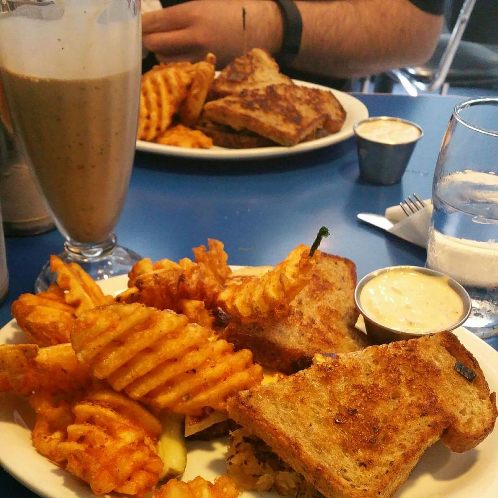 """Photo of Monty's Blue Plate Diner  by <a href=""""/members/profile/Lindsey"""">Lindsey</a> <br/>The Sheldon (vegan tofu reuben), seasoned waffle fries, vegan chocolate shake <br/> July 7, 2015  - <a href='/contact/abuse/image/5594/108518'>Report</a>"""