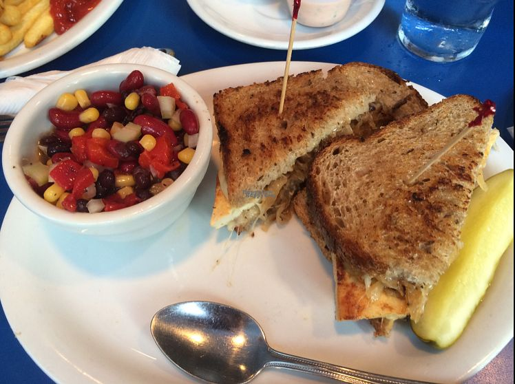 """Photo of Monty's Blue Plate Diner  by <a href=""""/members/profile/Leksee"""">Leksee</a> <br/>Sheldon with bean salad <br/> September 28, 2016  - <a href='/contact/abuse/image/5594/178403'>Report</a>"""