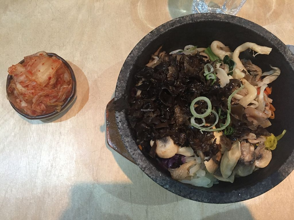 """Photo of Bibimbap Charlotte St  by <a href=""""/members/profile/alice28"""">alice28</a> <br/>Mushroom bibimbap with kimchi on the side <br/> March 1, 2018  - <a href='/contact/abuse/image/56004/365342'>Report</a>"""