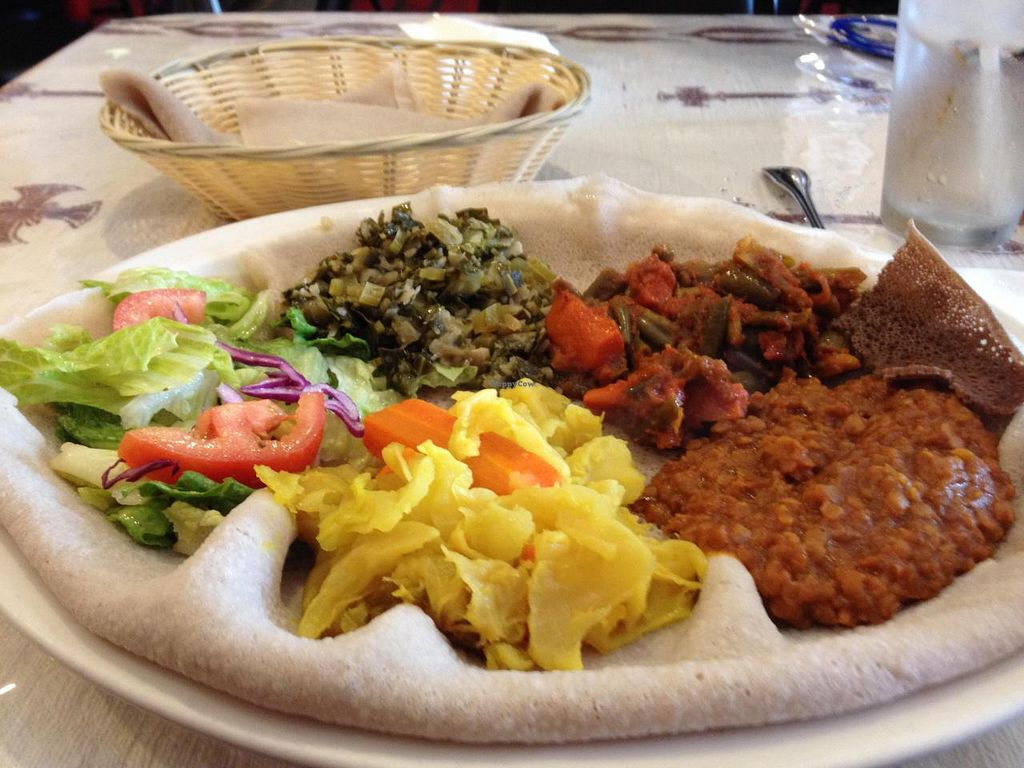 """Photo of Cafe Lalibela  by <a href=""""/members/profile/Tigra220"""">Tigra220</a> <br/>Veggie combo plate (misir wat, gomen, tikel gomen, & fosolia) <br/> August 9, 2014  - <a href='/contact/abuse/image/5604/76385'>Report</a>"""