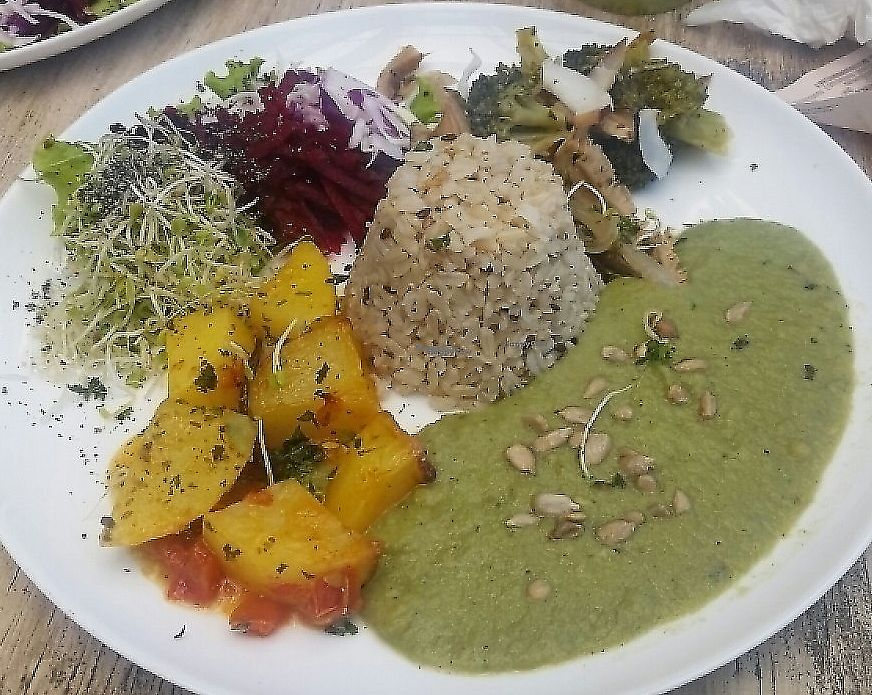 "Photo of Veggie Aragua  by <a href=""/members/profile/NatalieMayer"">NatalieMayer</a> <br/>Lunch special of the day, rice, pea puree, yummy potatoes, salad <br/> November 20, 2016  - <a href='/contact/abuse/image/56065/310862'>Report</a>"