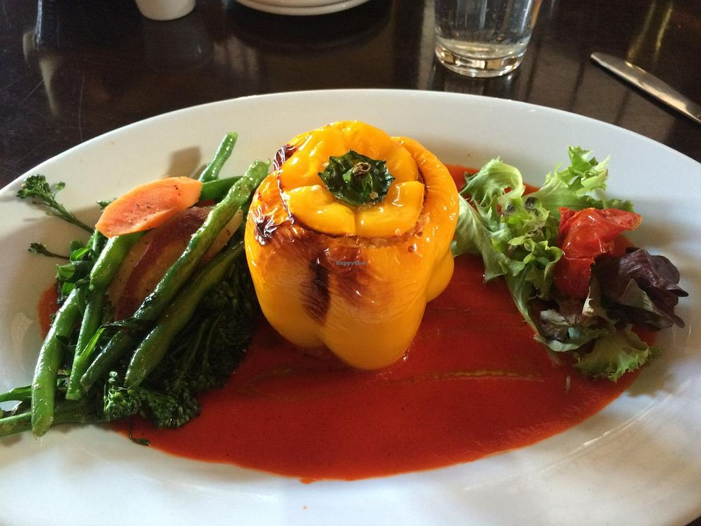 """Photo of Depot Grill  by <a href=""""/members/profile/Meggie%20and%20Ben"""">Meggie and Ben</a> <br/>Stuffed bell pepper (vegan) <br/> March 1, 2015  - <a href='/contact/abuse/image/56098/94455'>Report</a>"""