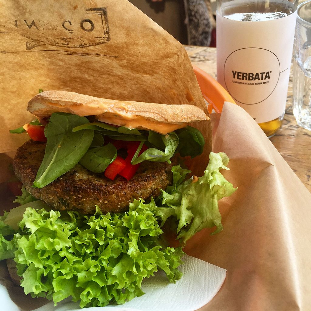 """Photo of Mango Vegan Street Food - Bracka  by <a href=""""/members/profile/KasiaFraser"""">KasiaFraser</a> <br/>gf Quinoa burger  <br/> September 12, 2016  - <a href='/contact/abuse/image/56119/175202'>Report</a>"""
