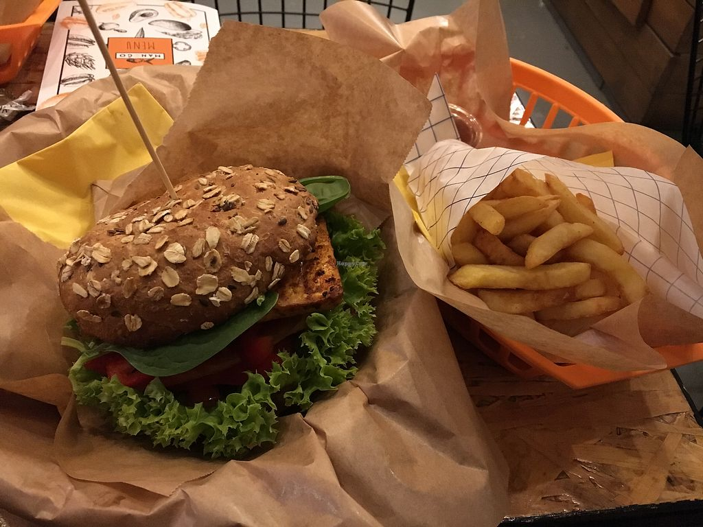 """Photo of Mango Vegan Street Food - Bracka  by <a href=""""/members/profile/Mermitate"""">Mermitate</a> <br/>Burger and chips <br/> November 17, 2017  - <a href='/contact/abuse/image/56119/326525'>Report</a>"""