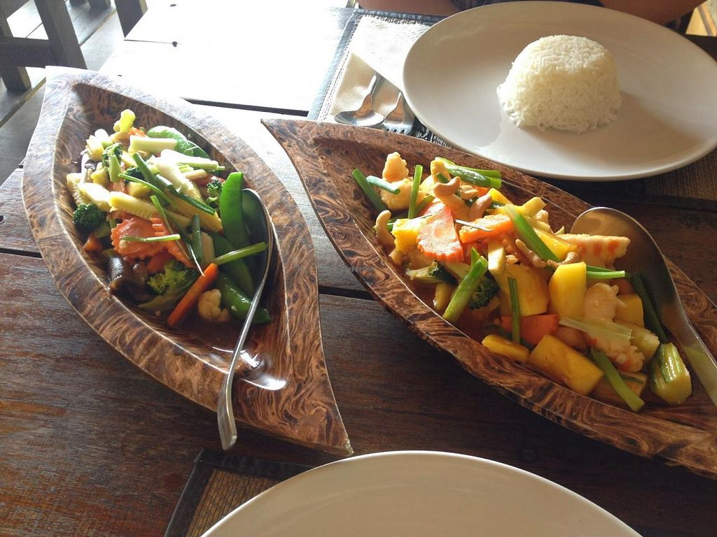 "Photo of Rice Paddy  by <a href=""/members/profile/jojoinbrighton"">jojoinbrighton</a> <br/>Pad Pak Raum & Vegan Sweet & Sour Seafood with faux prawns <br/> March 3, 2015  - <a href='/contact/abuse/image/56178/94777'>Report</a>"