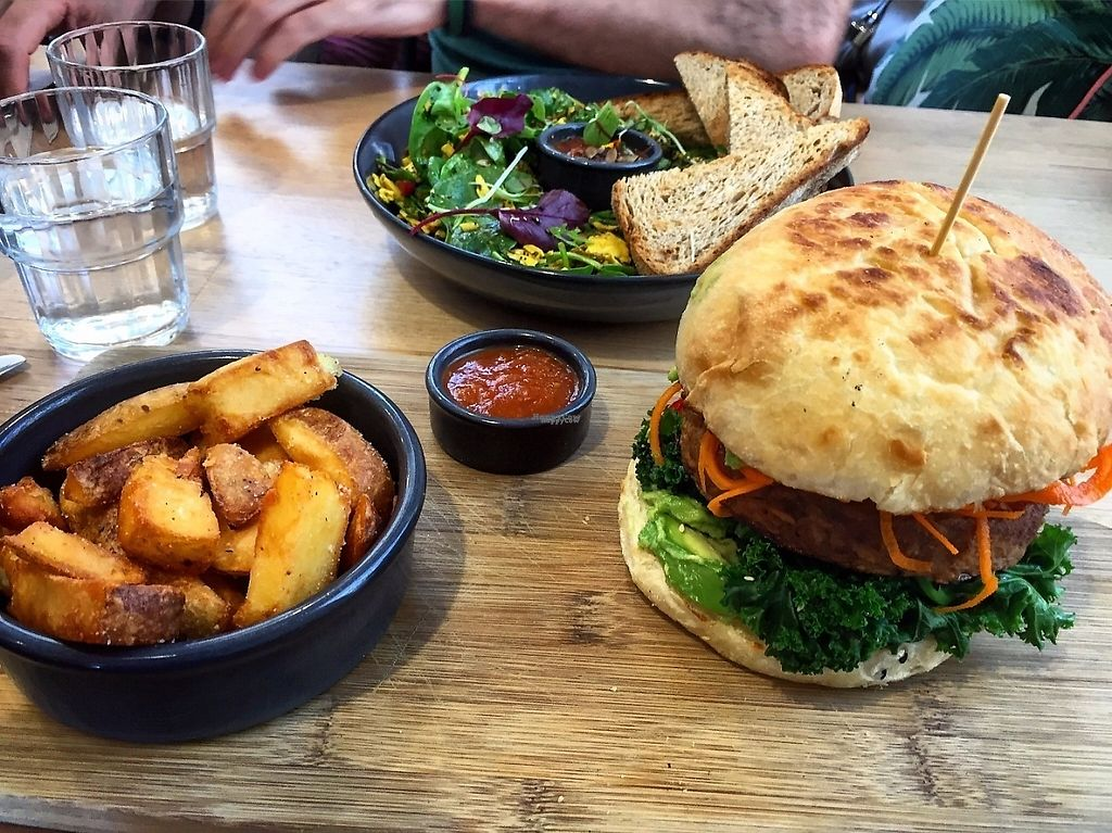 """Photo of Urban Projuice  by <a href=""""/members/profile/GreatVeganExp"""">GreatVeganExp</a> <br/>Tempeh burger, and tofu scramble <br/> January 13, 2017  - <a href='/contact/abuse/image/56212/211647'>Report</a>"""