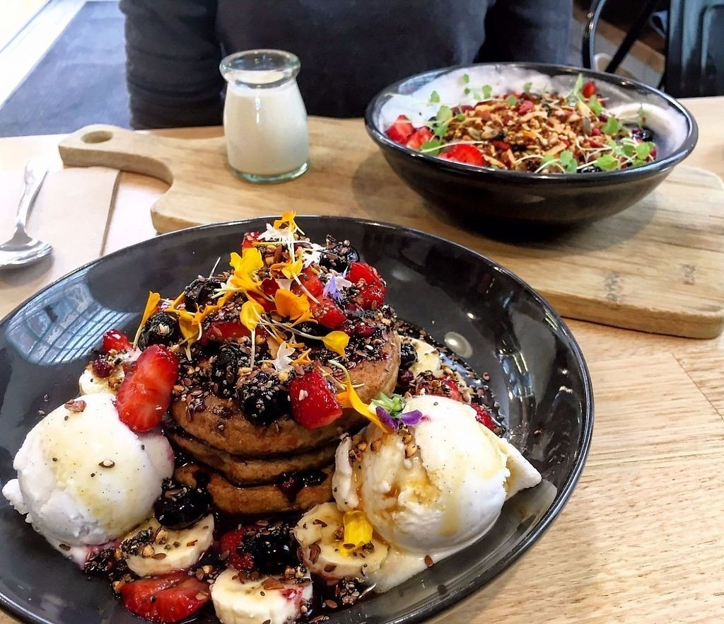 """Photo of Urban Projuice  by <a href=""""/members/profile/GreatVeganExp"""">GreatVeganExp</a> <br/>Buckwheat pancakes, and granola <br/> January 13, 2017  - <a href='/contact/abuse/image/56212/211655'>Report</a>"""