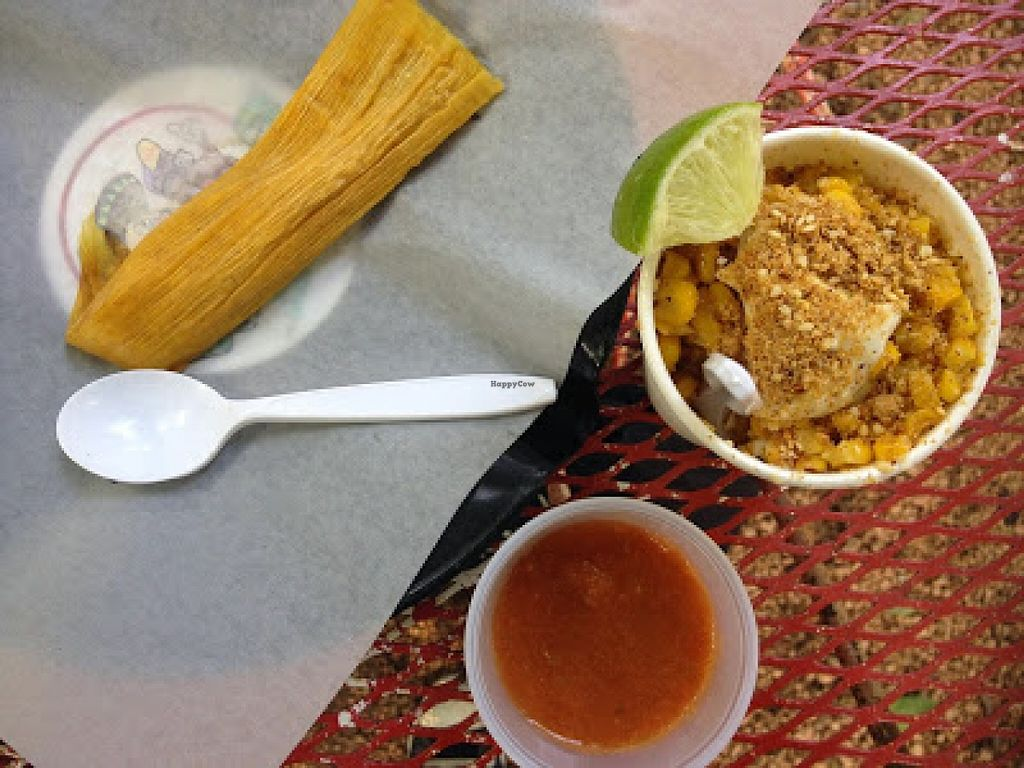 """Photo of Cool Beans - Food Truck  by <a href=""""/members/profile/jojoinbrighton"""">jojoinbrighton</a> <br/>Street Corn and a Sweetcorn Tamale <br/> August 31, 2015  - <a href='/contact/abuse/image/56221/115936'>Report</a>"""