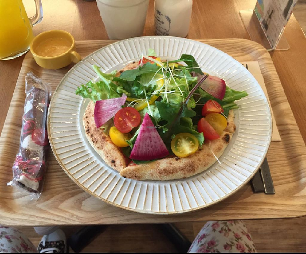 """Photo of Sekai Cafe - Asakusa  by <a href=""""/members/profile/Alyssa2431"""">Alyssa2431</a> <br/>'Salad Pizza'  <br/> March 13, 2015  - <a href='/contact/abuse/image/56252/95684'>Report</a>"""