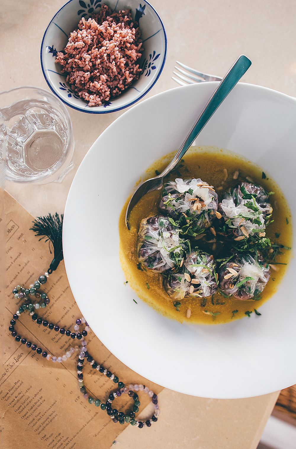 """Photo of Ashley's by LivingFood  by <a href=""""/members/profile/ManonHollingsworth"""">ManonHollingsworth</a> <br/>Vegetable dumplings in pumpkin puree  <br/> February 19, 2018  - <a href='/contact/abuse/image/56254/361117'>Report</a>"""